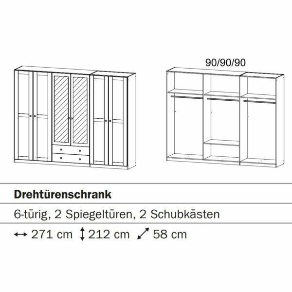 """Trendstore """"Romana"""" Drehtürenschrank Skizze"""