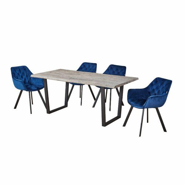 """Trendstore """"Merve"""" 4-Fuß-Stuhl blau Wohnbeispiel"""