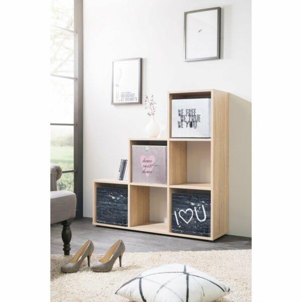 """Trendstore """"Fiette"""" Raumteiler, Ambiente 1, Farbe Eiche Sägerau, mit Deko"""