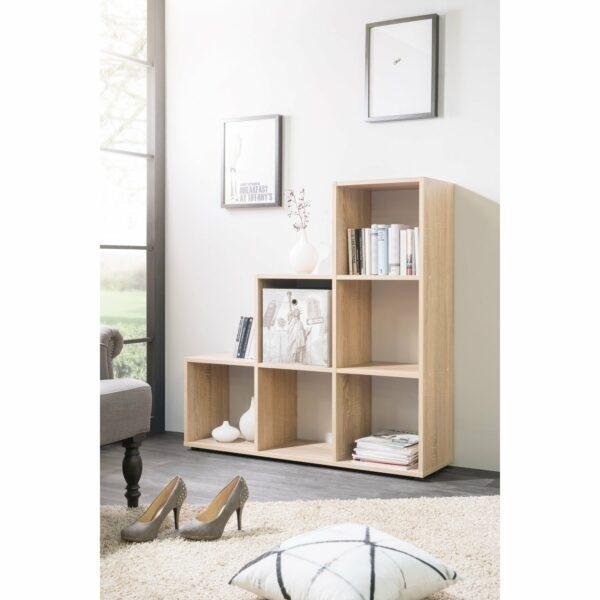 """Trendstore """"Fiette"""" Raumteiler, Ambiente 2, Farbe Eiche Sägerau, mit Deko"""