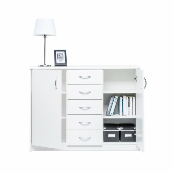 """Trendstore """"Falka"""" Kommode zwei Türen und vier Schubladen - Dekor in weiß, geöffnet"""