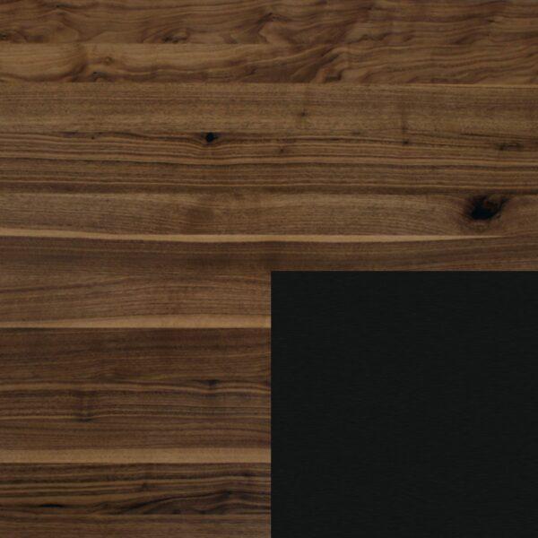 Willisau Ausführung Nussbaum mit Charaktermerkmalen - Gestell aus Aluminium schwarz gebürstet