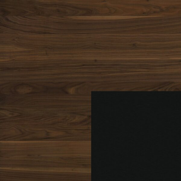 Willisau Ausführung Nussbaum ohne Charaktermerkmale - Gestell aus Aluminium schwarz gebürstet