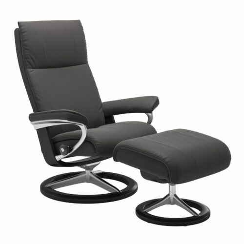 "Stressless ""Aura"" Sessel mit Hocker in Leder ""Paloma"" Rock - Gestell schwarz"
