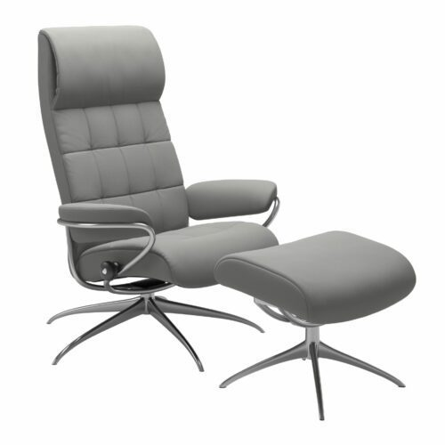 "Stressless ""London"" Sessel High Back mit Hocker in Leder ""Paloma"" Silver Grey - Gestell chrom"