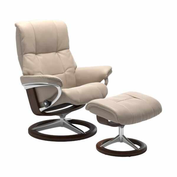 "Stressless ""Mayfair"" Sessel mit Hocker in Leder ""Cori"" Vanilla - Gestell braun"