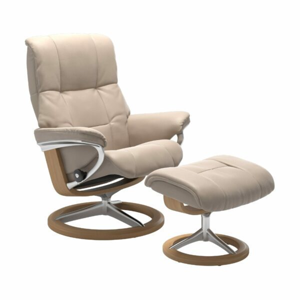 "Stressless ""Mayfair"" Sessel mit Hocker in Leder ""Cori"" Vanilla - Gestell Eiche"