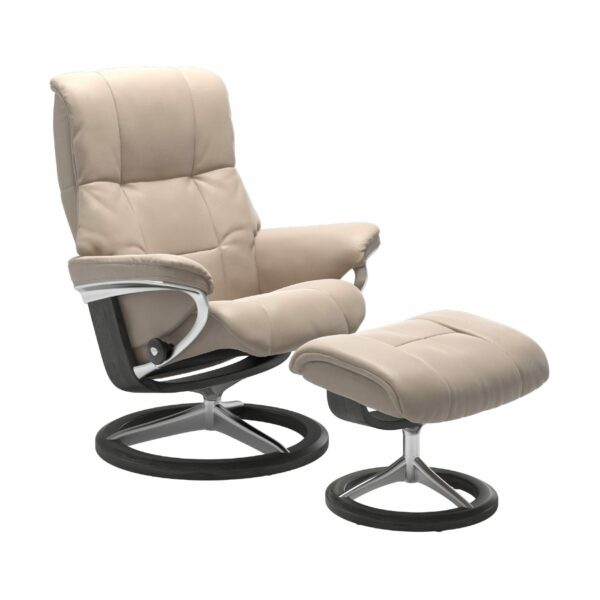 "Stressless ""Mayfair"" Sessel mit Hocker in Leder ""Cori"" Vanilla - Gestell grau"