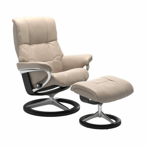 "Stressless ""Mayfair"" Sessel mit Hocker in Leder ""Cori"" Vanilla - Gestell schwarz"