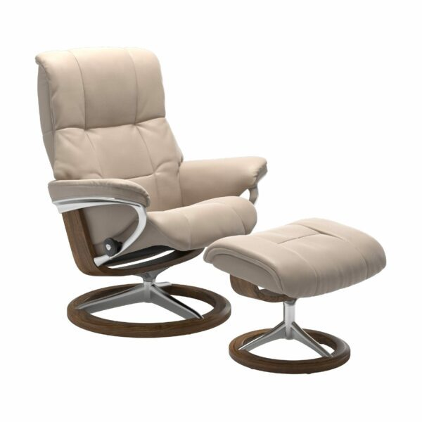 "Stressless ""Mayfair"" Sessel mit Hocker in Leder ""Cori"" Vanilla - Gestell Teak"