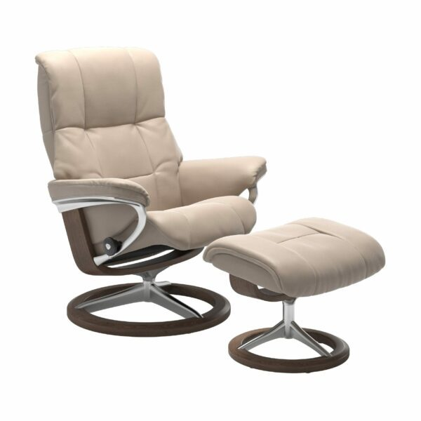"Stressless ""Mayfair"" Sessel mit Hocker in Leder ""Cori"" Vanilla - Gestell Walnuss"