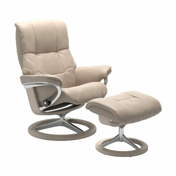 "Stressless ""Mayfair"" Sessel mit Hocker in Leder ""Cori"" Vanilla - Gestell whitewash"