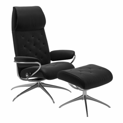 "Stressless ""Metro"" Sessel High Back mit Hocker in Leder ""Paloma"" Black - Gestell chrom"
