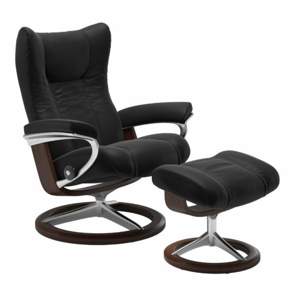 "Stressless ""Wing"" Sessel mit Hocker in Leder ""Paloma"" Black - Gestell braun"