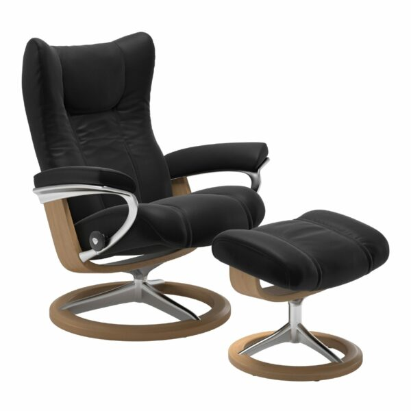 "Stressless ""Wing"" Sessel mit Hocker in Leder ""Paloma"" Black - Gestell Eiche"