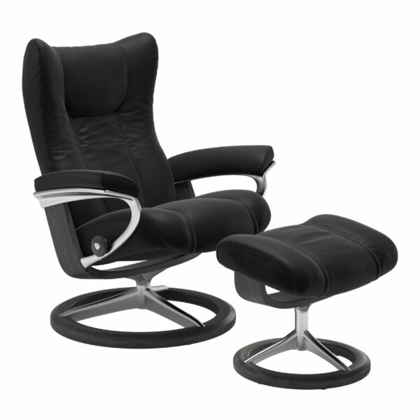 "Stressless ""Wing"" Sessel mit Hocker in Leder ""Paloma"" Black - Gestell grau"