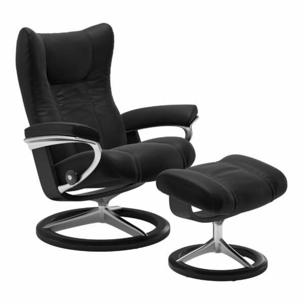 "Stressless ""Wing"" Sessel mit Hocker in Leder ""Paloma"" Black - Gestell schwarz"