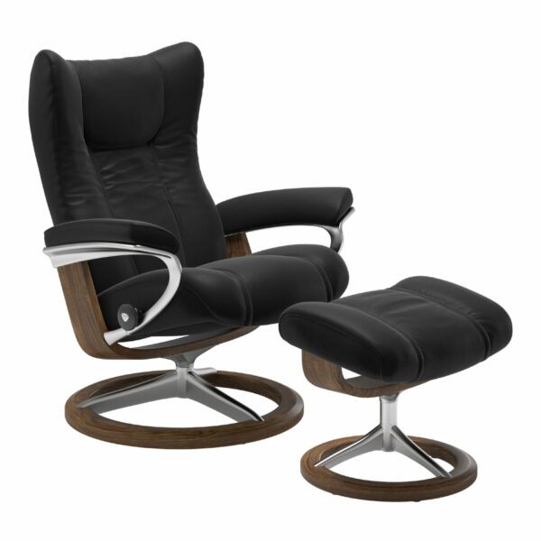 "Stressless ""Wing"" Sessel mit Hocker in Leder ""Paloma"" Black - Gestell Teak"