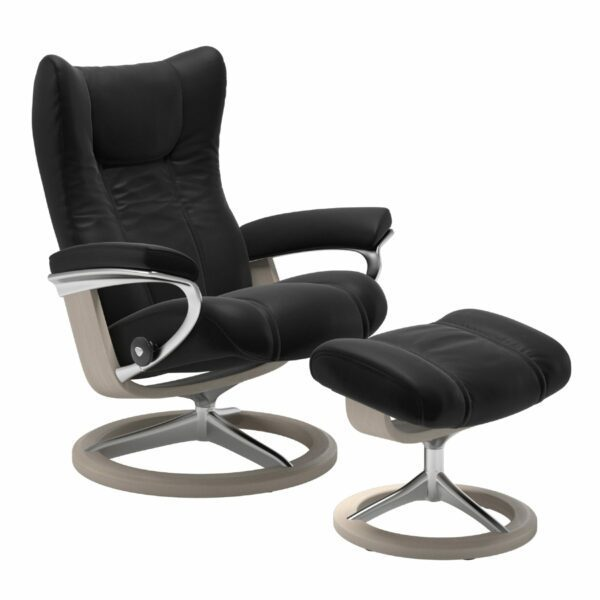 "Stressless ""Wing"" Sessel mit Hocker in Leder ""Paloma"" Black - Gestell whitewash"