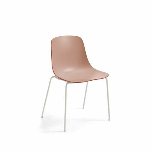 """Raum.Freunde """"Greta Binuance"""" Stuhl - Kunststoffschale und weißes Gestell - Innen puderfarben"""