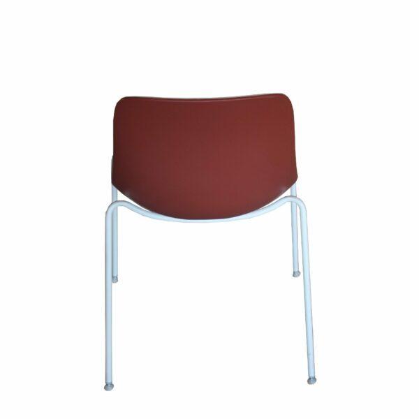 """Raum.Freunde """"Greta Binuance"""" Stuhl - Kunststoffschale und weißes Gestell - Rücken dunkelrot"""