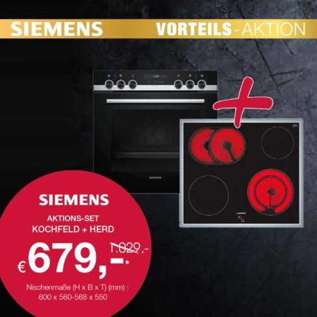 Siemens Vorteils-Aktion: Kochfeld und Herd zum Aktionspreis!