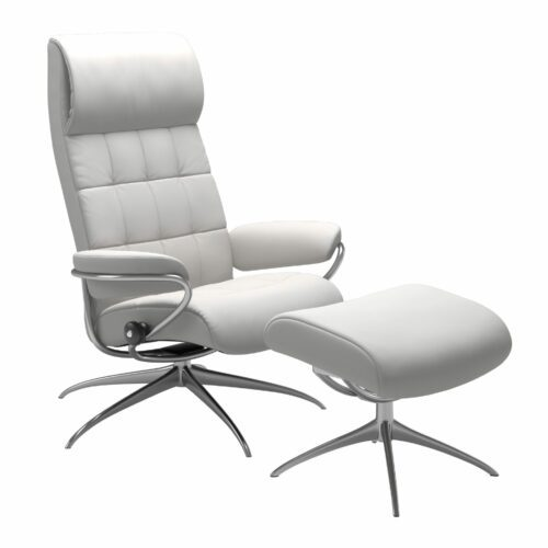 "Stressless ""London"" Sessel High Back mit Hocker in Leder ""Batick"" snow - Gestell chrom"