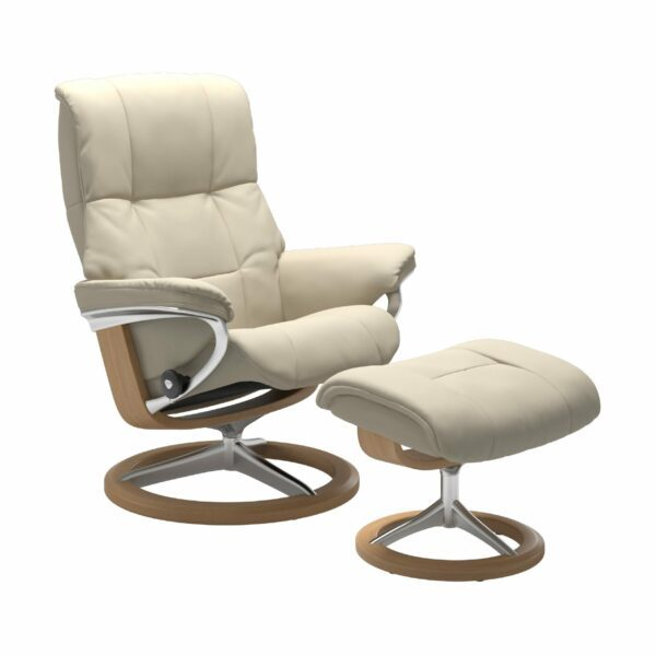 "Stressless ""Mayfair"" Sessel mit Hocker in Leder ""Batick"" Cream - Gestell Eiche"