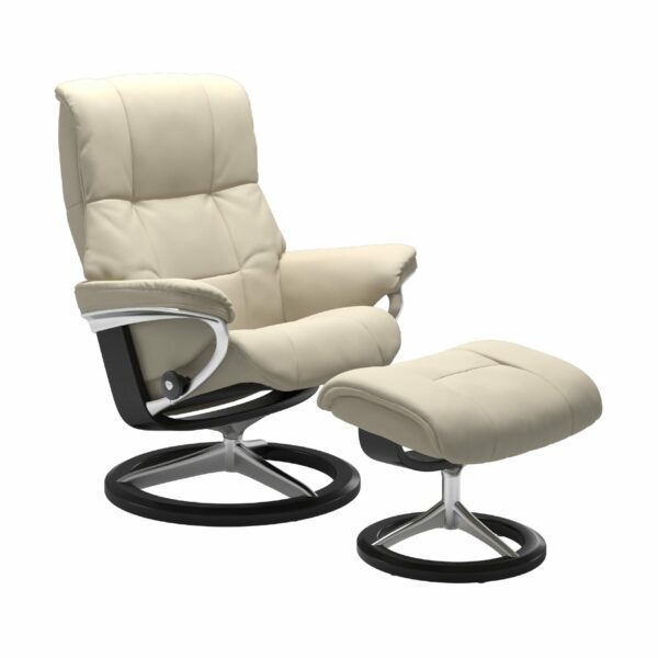 "Stressless ""Mayfair"" Sessel mit Hocker in Leder ""Batick"" Cream - Gestell schwarz"