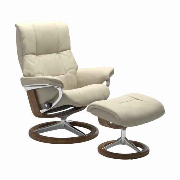 "Stressless ""Mayfair"" Sessel mit Hocker in Leder ""Batick"" Cream - Gestell Teak"