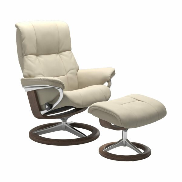"Stressless ""Mayfair"" Sessel mit Hocker in Leder ""Batick"" Cream - Gestell Walnuss"