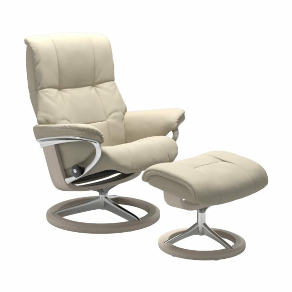 "Stressless ""Mayfair"" Sessel mit Hocker in Leder ""Batick"" Cream - Gestell whitewash"