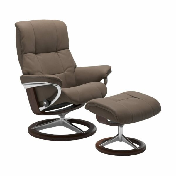 "Stressless ""Mayfair"" Sessel mit Hocker in Leder ""Batick"" Mole - Gestell braun"