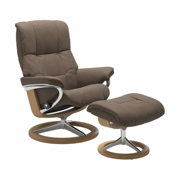 "Stressless ""Mayfair"" Sessel mit Hocker in Leder ""Batick"" Mole - Gestell Eiche"