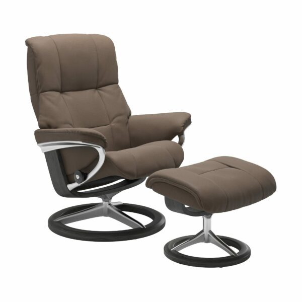 "Stressless ""Mayfair"" Sessel mit Hocker in Leder ""Batick"" Mole - Gestell grau"
