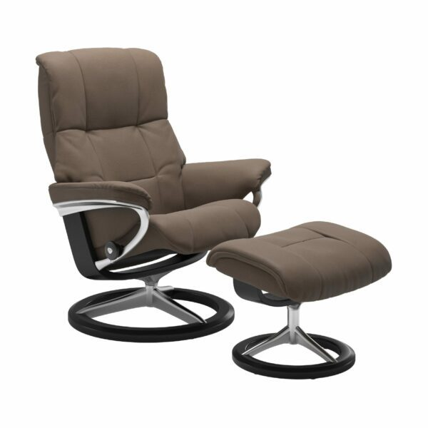 "Stressless ""Mayfair"" Sessel mit Hocker in Leder ""Batick"" Mole - Gestell schwarz"