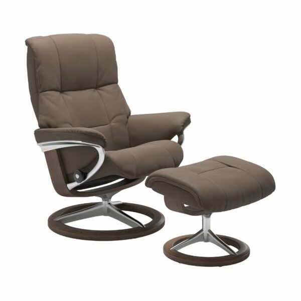 "Stressless ""Mayfair"" Sessel mit Hocker in Leder ""Batick"" Mole - Gestell Walnuss"