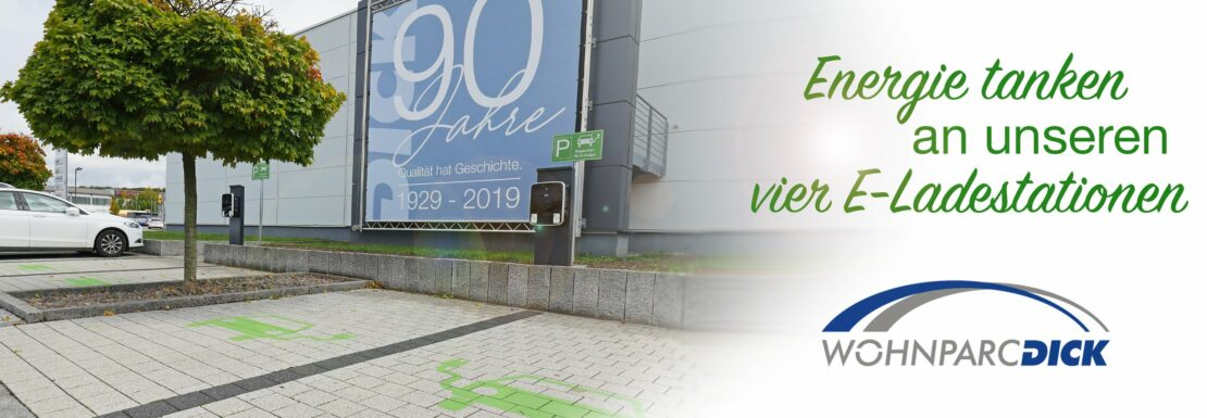 Vier E-Ladestationen bei Wohnparc DICK