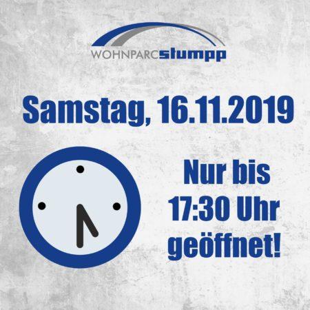 Am 16.11.2019 schließt der Wohnparc Stumpp früher