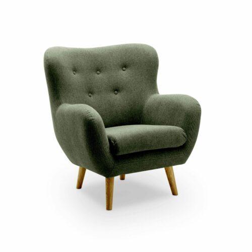 """Trendstore """"Nekra II"""" Sessel mit Bezug Austin in Dunkelgrün in seitlicher Ansicht."""