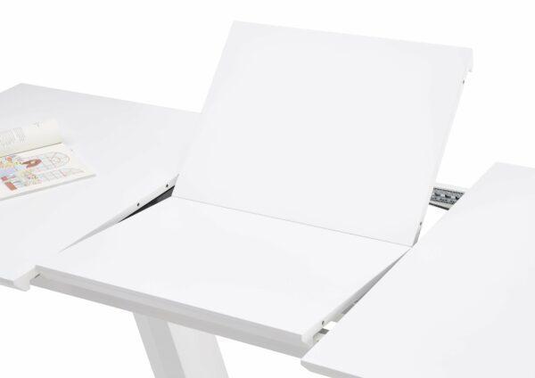 """Trendstore """"Merrit"""" Esstisch mit Tischplatte und Gestell aus MDF weiß und Glas und Gestell aus Edelstahl gebürstet Erklärung Auszug"""