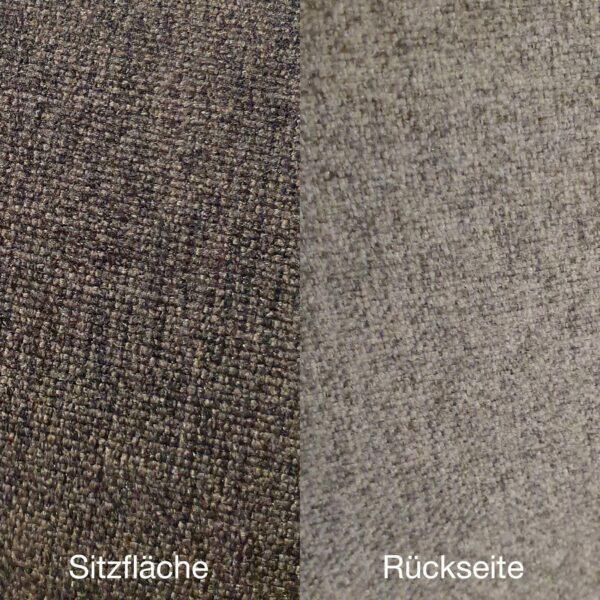 """Trendstore """"Mae"""" Sitzbank mit Sitzpolster in dunkelgrau und hellgrau mit Gestell aus Metall in schwarz Nahaufnahme Bezüge"""