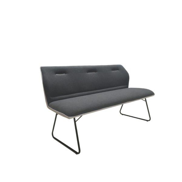 """Trendstore """"Mae"""" Sitzbank mit Sitzpolster in dunkelgrau und hellgrau und Gestell aus Metall in schwarz beschichtet"""