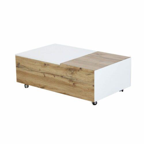 """Trendstore """"Maiju"""" Couchtisch auf Rollen mit Tischplatte aus MDF mit 3-Dekor in Wotan Eiche und weiß matt"""