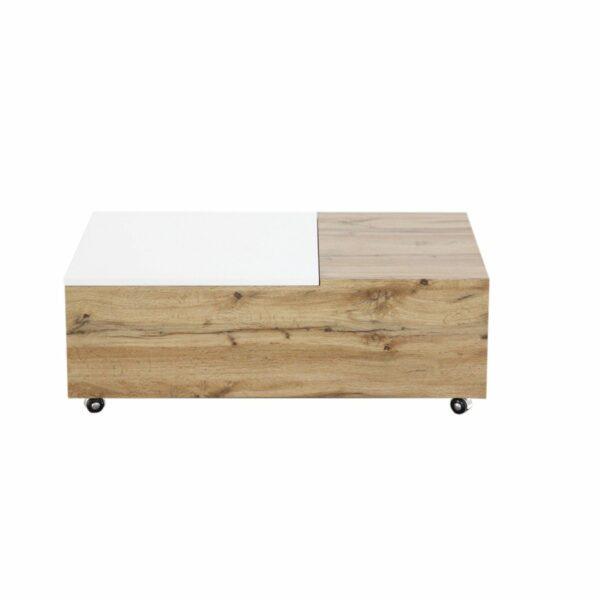 """Trendstore """"Maiju"""" Couchtisch auf Rollen mit Tischplatte aus MDF mit 3-Dekor in Wotan Eiche und weiß matt Frontansicht"""