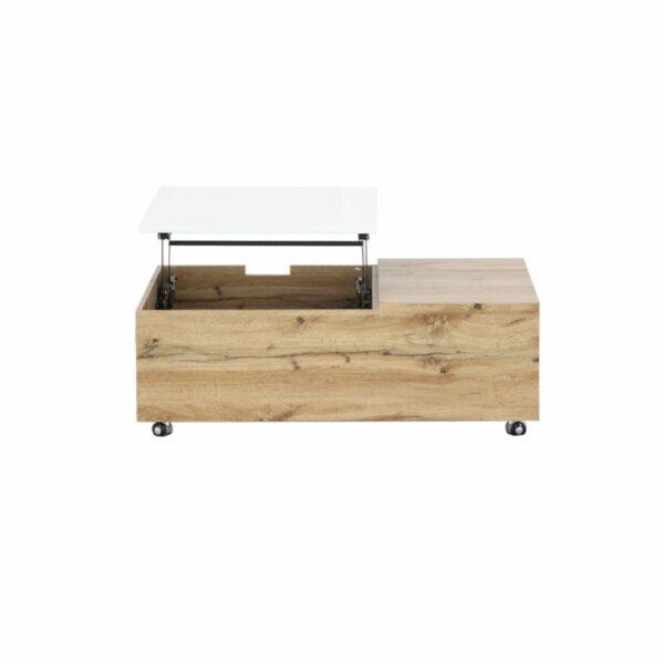 """Trendstore """"Maiju"""" Couchtisch auf Rollen mit Tischplatte aus MDF mit 3-Dekor in Wotan Eiche und weiß matt mit Liftfunktion"""
