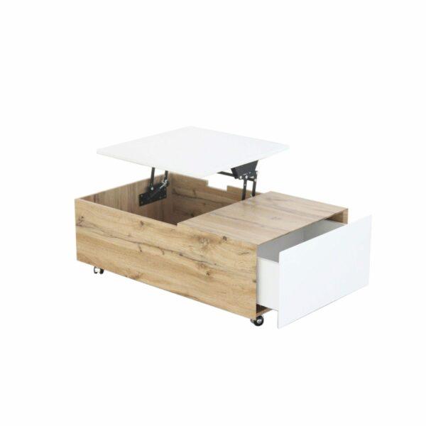 """Trendstore """"Maiju"""" Couchtisch auf Rollen mit Tischplatte aus MDF mit 3-Dekor in Wotan Eiche und weiß matt mit Liftfunktion und Schublade"""