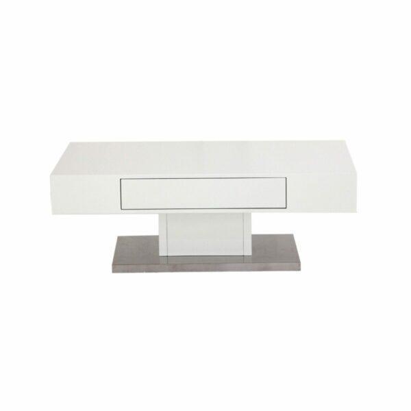 """Trendstore """"Malia"""" Couchtisch mit Tischplatte und Gestell aus MDF weiß matt und Bodenplatte in Edelstahl mit Schubkasten Frontalansicht"""