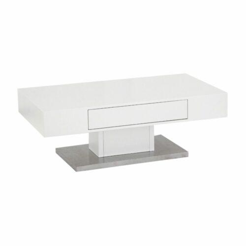 """Trendstore """"Malia"""" Couchtisch mit Tischplatte und Gestell aus MDF weiß matt und Bodenplatte in Edelstahl mit Schubkasten"""