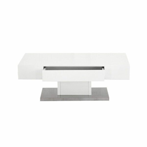 """Trendstore """"Malia"""" Couchtisch mit Tischplatte und Gestell aus MDF weiß matt und Bodenplatte in Edelstahl mit Schubkasten offen"""